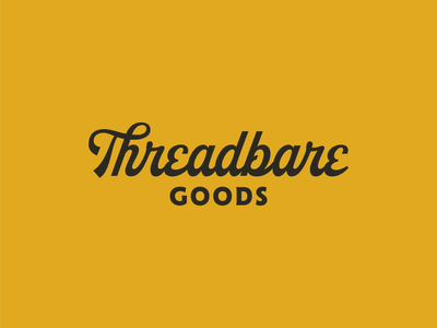 Threadbare Goods emblem badge stickers patches thread name rebrand website logotype kansas midwest palette color brand lettering typography script wordmark logo