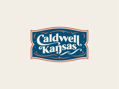 City of Caldwell Branding cowboy illustration vintage badge script seal western slab type spur horse typography wordmark icon flag logo branding town kansas city