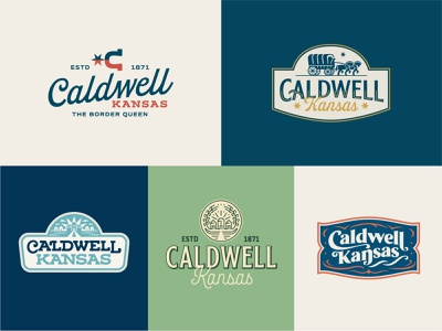 City of Caldwell Branding cowboy illustration vintage badge script seal western slab type spur horse typography wordmark icon flag logo branding town kansas city