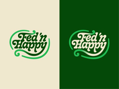 Fed 'n Happy Wordmark growth vine plant sprout logotype type funky vintage color rebrand badge typography wordmark design icon branding logo