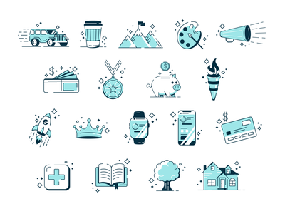 Illustrations family corporate sketch drawing stars tree car house badges icons illustration design icon branding