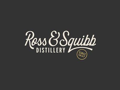 Ross & Squibb Wordmark ampersand bourbon lettering script typography type badge monogram packaging alcohol vodka distillery whiskey wordmark icon branding logo
