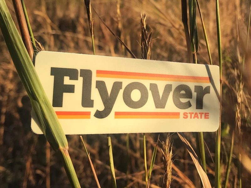 Flyover State dakota iowa oklahoma nebraska minnesota sticker 70s vintage thicklines lines thick typography illustration wordmark kansas brand icon design branding logo