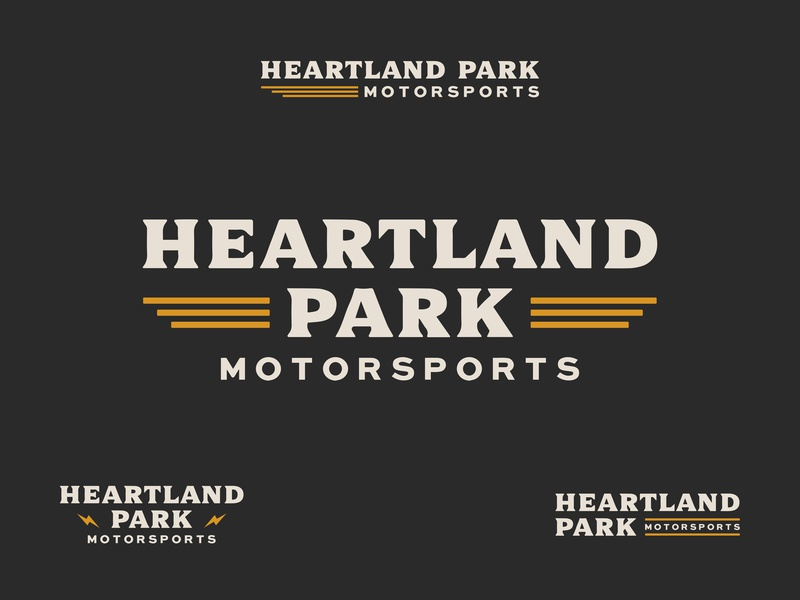 Heartland Park Branding cars motorsports lightning heartland racecar racing park font serif rebrand badge refresh wordmark kansas brand icon design branding logo