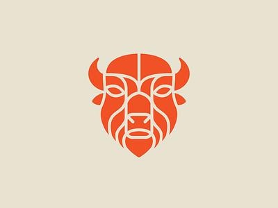 Bison wichita horns head animal buffalo bison kansas brand design icon branding logo