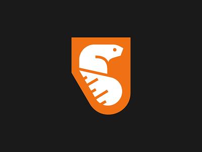 Beaver orange tape contractor construction outdoors kansas animal measure ruler beaver badge design icon branding logo