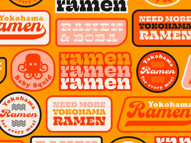 Ramen kansas wichita yokohama asian palette colors design logo squid badges stickers script serif slab type typography boba sushi noodles ramen