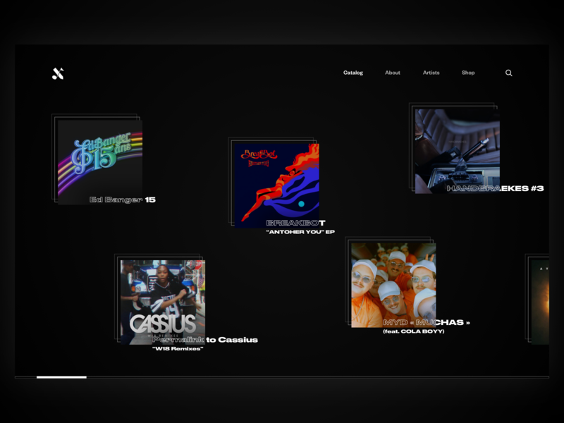Ed Banger Records landing page horizontal scroll gallery founders grotesk druk wide web music desktop ed banger records design ui