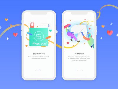 Walkthrough illustrations ➹ Thankfully thankfully gradient walkthrough design app vector colorful illustration mobileapp ui branding