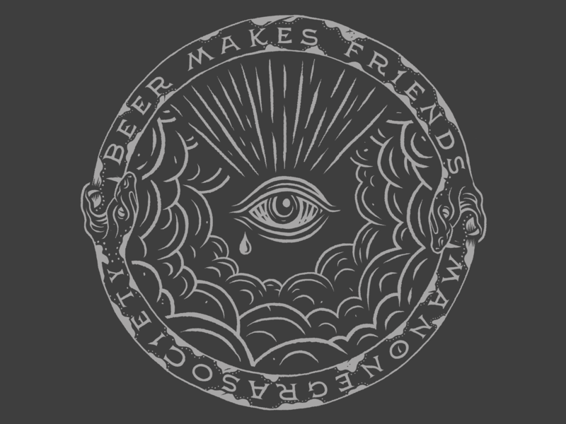 Coaster_ Beer Makes Friends coaster ouroboros illustration lettering