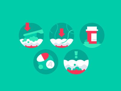 All About Them Teeth brush pills revenuewell minimal design dentist dental flat illustration