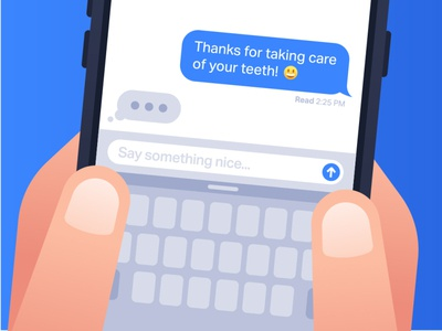Texts for Teeth smile waiting sms texting patient people minimal design dentist dental illustration flat