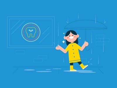 Rainy Day Vibes umbrella rain people patient characters front office design dentist dental revenuewell illustration flat