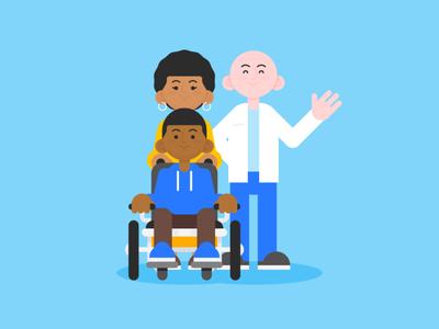 Day at the Dentist family wheelchair diversity dental revenuewell characters branding dentist illustration flat