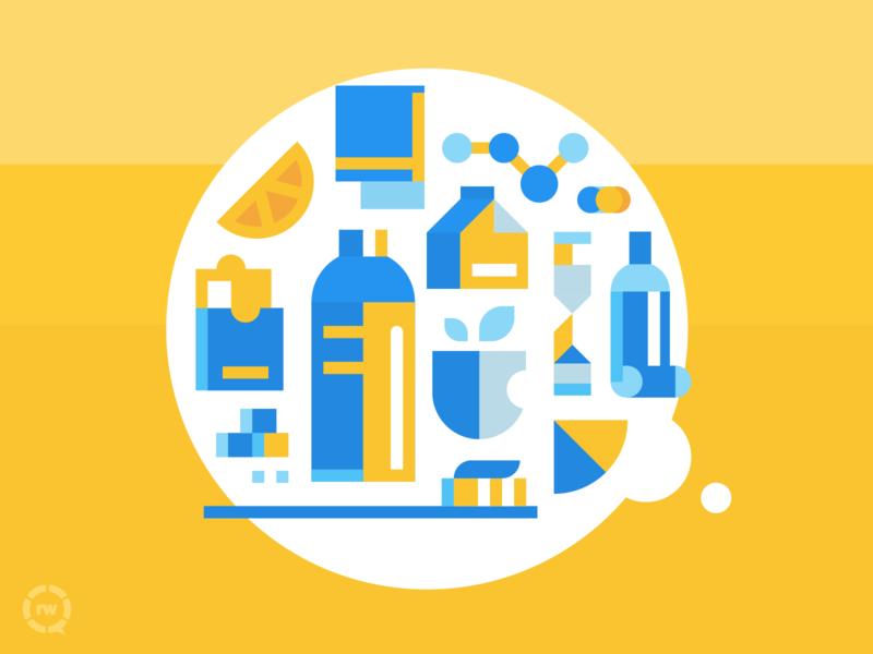 Wellness & Goodness bright wellness vector blue branding design revenuewell dentist illustration