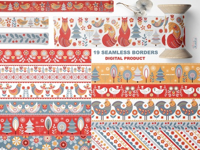 SCANDINAVIAN  SEAMLESS BORDERS emblem design summer style illustration packaging ornament seamless pattern folk art digital banner nursery art textile design seamless border digital border digital tape scandinavian design