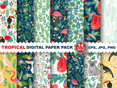 Tropical Digital Seamless patterns summer style textile design seamless pattern print for kids room print for kids exotic print summer prints tropical digital prints tropical digital prints