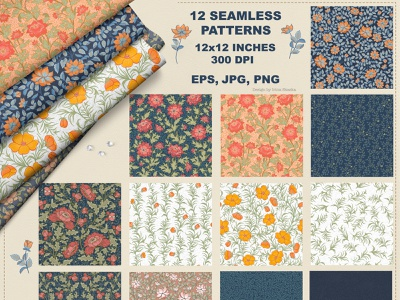 Floral Seamless Patterns (eps, jpg, png) wedding background jpg digital textile pattern seamless background victorian wallpaper victorian paper victorian floral floral digital paper vintage wallpaper scrapbooking paper digital vintage printable paper summer style packaging ornament textile design seamless pattern
