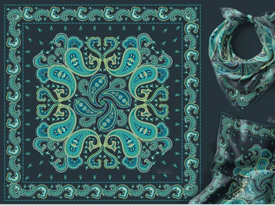 PAISLEY BANDANA graphic design ornament textile design