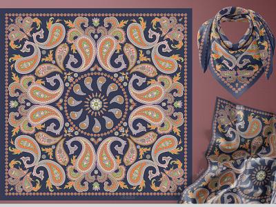 PAISLEY PATTERN ornamental design bandana kerchief indian pattern graphic design textile design