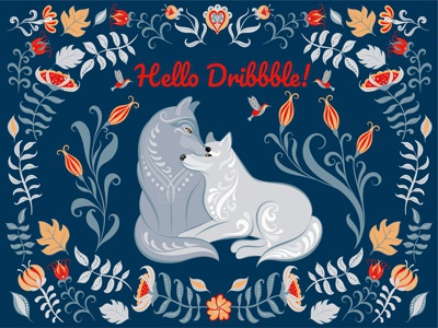 Hello Dribbble! ornament folk art dribbble hello