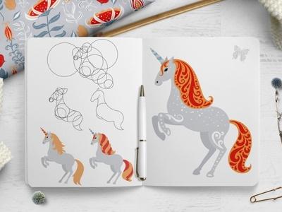 Unicorns dribbble folk art sketch unicorn