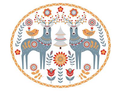 Circular ornament. Scandinavian style. Folk art. cute animals deer illustration kids design circle design folklore logo emblem design folk art scandinavian