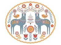 Deer with a small chick,  tree,  flowers.  Scandinavian style.