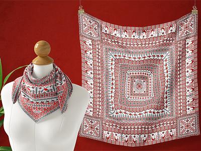 Mezen Painting nordic illustration packaging tropical fabric textiles russian ornament scarf mezen painting folk art