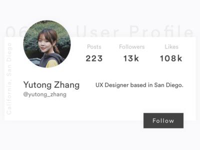 DailyUI - 006 - User Profile design screen ui dailyui 006 card profile user