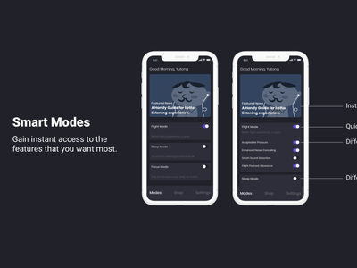 Redesign Sony Headphones App - Smart Modes dark theme ux design mainpage screens design ui