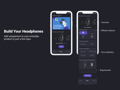 Redesign Sony Headphones App - Build Your Headphones technology dark theme uxdesign screens design illustration ui