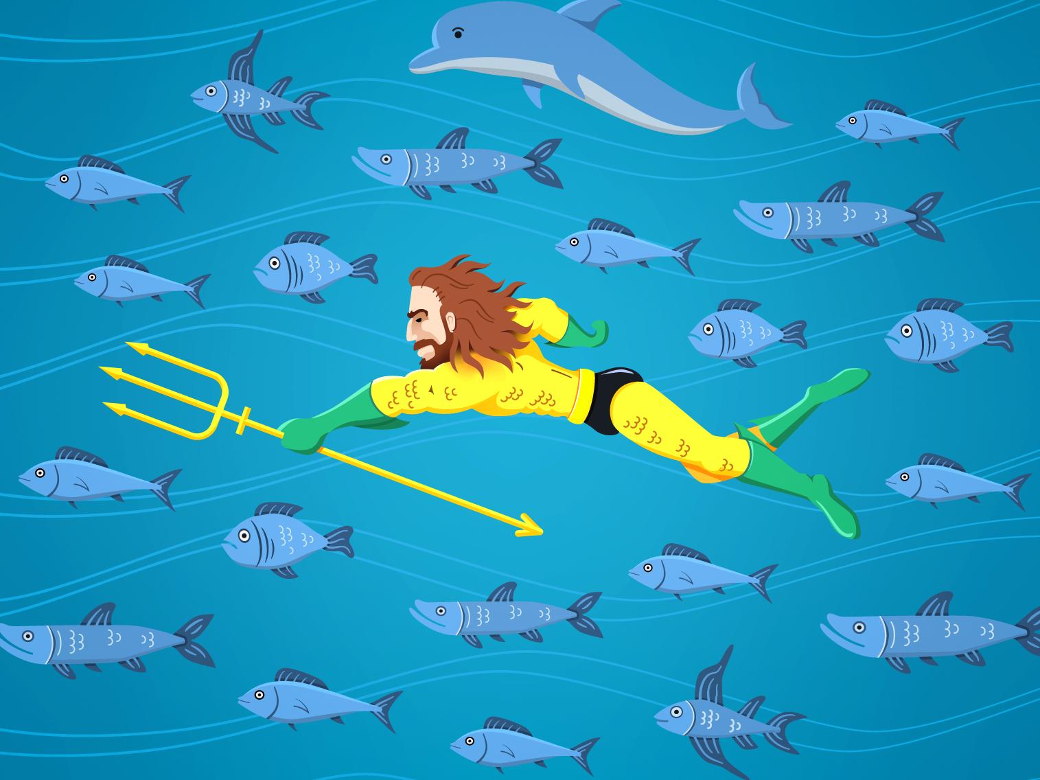 Aquaman and Friends sealife sea creature sea fish dolphin aqua man oceanic ocean super hero justice league illustration illustrated trident marine design aqua aquaman