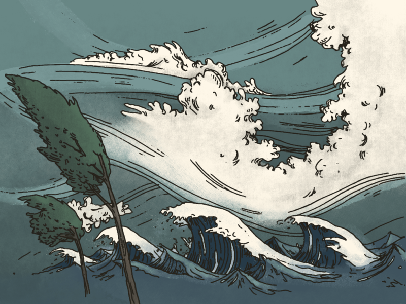Cyclone sketch analog color cyclone ocean storm nature illustration