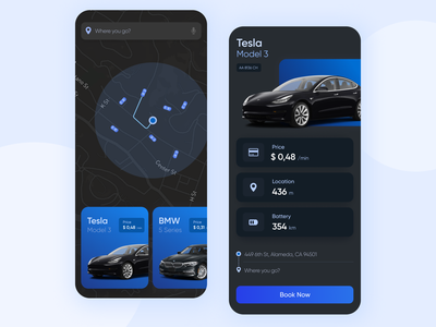 Car sharing app dark ui ui ux sharing design tesla mobile ui mobile app car sharing car ui  ux