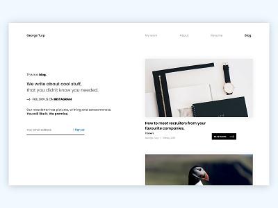 Blog page concept branding interface portfolio web blog new ui invision studio invision sketch dribbble design