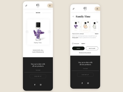 Product page - High End Perfum brand shopping cart shop payment order product web ux concept sketch new ui dribbble design