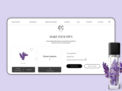 Create your own - High-end perfume brand fragrance perfume product cart order branding web ux sketch ui new dribbble design