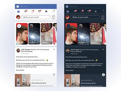 Mobile Facebook - Dark UI facebook app concept darkmode dark theme dark ux mobile app mobile product figma ui new dribbble design