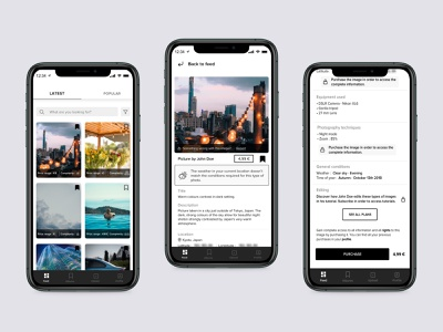 Photography App - Main concept product ux interface concept photography app mobile sketch ui new dribbble design