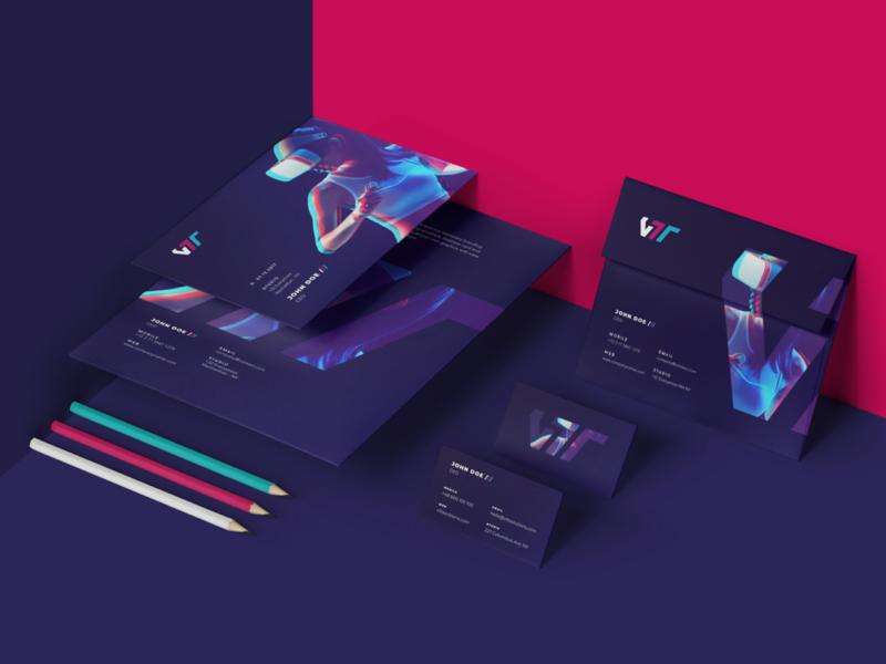VTT Branding 商標 應用 设计 website iteo logo stationery virtual reality vr ux ui glitch brand identity branding 3d