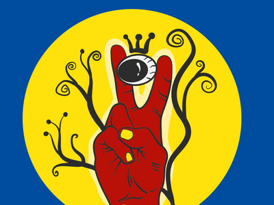 Eyeballman freebie vector sketch illustration 2d illustration digitalart art yellow blue fingers hand peace sign peace king eyeball