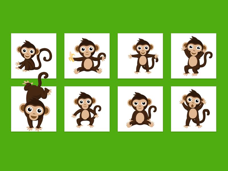 Monkeys branding illustration monkey