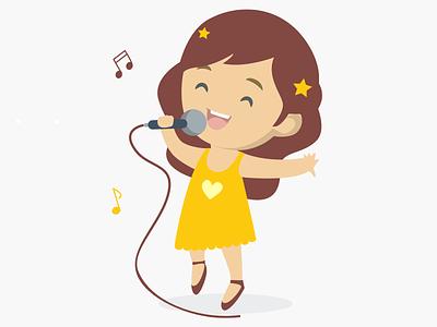 Girl singing karaoke karaoke design illustration 2d illustration children illustration singing star singing school dance school funny dance girl girl singing singer singing