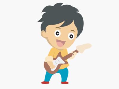 Rockstar boy playing electric guitar