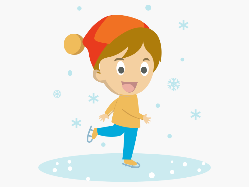 Boy ice skating design illustration 2d illustration winter is coming winter scene boy ice skating