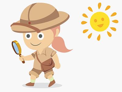 Girl explorer icon girl sunnyday sun explorer safari 2d illustration illustration