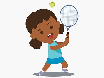 Girl playing tennis children kids illustration 2d illustration play icon children sport playing tennis girl child sport tennis