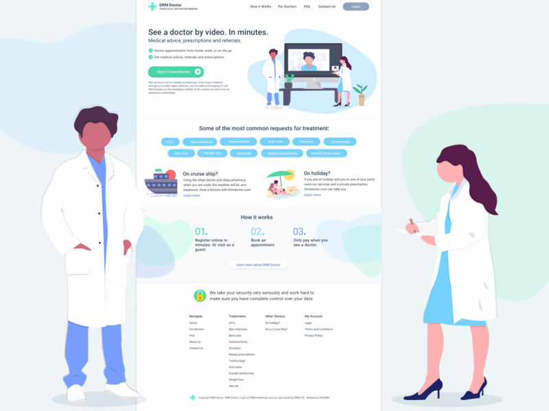 Website Homepage Design - Healthcare uxdesign homepagedesign medicine medical healthcare doctors branding icon ui 2d illustration