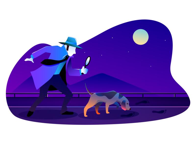 Error 404 not found moonshine moonlight footprints searching detective sherlock holmes dog night woobro vector branding illustration design 2d illustration 404 error page 404 error 404page